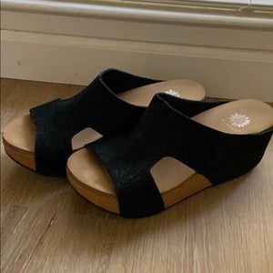 Yellow Box black wedge sandals